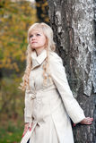 The beautiful girl in autumn park Stock Images