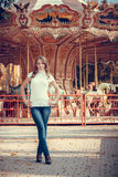 Beautiful girl in the autumn park Stock Photography