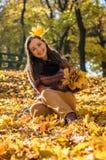 Beautiful girl in autumn Park Stock Photography