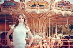 Beautiful girl in the autumn park Stock Photos