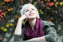 Beautiful girl in autumn park Stock Image