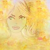 Beautiful girl in autumn scenery. Portrait stock illustration