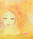 Beautiful girl in autumn scenery. Portrait vector illustration
