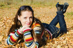 The beautiful girl on autumn walk Stock Photography