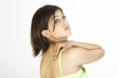 Beautiful girl with back pain Royalty Free Stock Image