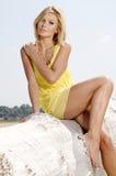 Beautiful girl on background blue sky Stock Image