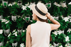 Beautiful girl on the background of flowers. Beautiful girl in a hat on a color background Royalty Free Stock Image