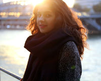 Beautiful girl in backlit at sunset Stock Photo