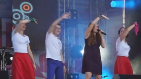 Beautiful girl with a backup dance AVISMA day-Russia Berezniki 14 July 2018 . Beautiful girl with a backup dance AVISMA day-Russia Berezniki 14 July 2018 stock video footage
