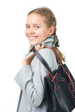 Beautiful girl with a bag. Pretty girl with a bag Stock Photography