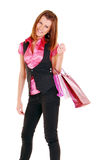 Beautiful girl with bag. Stock Photos