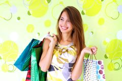 Beautiful girl with bags Stock Photo