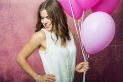 Beautiful girl with balloons Royalty Free Stock Photo