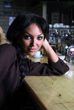 Beautiful girl in the bar Stock Images