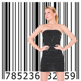 Beautiful girl and bar code royalty free stock photo