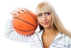 Beautiful girl with a baseball ball in her hands Royalty Free Stock Image