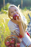 Beautiful girl with a basket of apples. Portrait of a laughing girl with apples Royalty Free Stock Photo