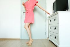 Beautiful Girl In Bath Robe. Beautiful Woman Model In Pink Robe. Portrait Female In Pink Pajamas Fashion In Home Interior. Background Royalty Free Stock Photos