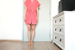 Beautiful Girl In Bath Robe. Beautiful Woman Model In Pink Robe. Portrait Female In Pink Pajamas Fashion In Home Interior. Background Royalty Free Stock Image