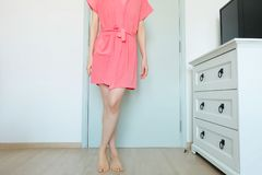 Beautiful Girl In Bath Robe. Beautiful Woman Model In Pink Robe. Portrait Female In Pink Pajamas Fashion In Home Interior. Background Stock Image
