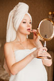 Beautiful girl with bath towel on her head stock photo