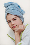 Beautiful girl with bathrobe in hotel Royalty Free Stock Photos