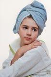 Beautiful girl with bathrobe in hotel Stock Photo