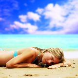 Beautiful girl on the beach Royalty Free Stock Photography