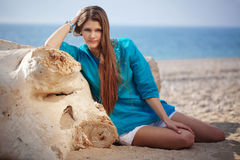 Beautiful girl on beach Royalty Free Stock Photography