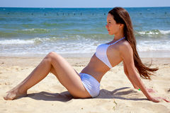 Beautiful girl on beach Stock Photo