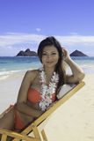 Beautiful girl at the beach. In hawaii Royalty Free Stock Images