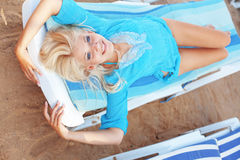 Beautiful girl at beach Stock Images