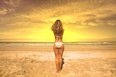 Beautiful girl in the beach Royalty Free Stock Photography