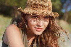 Beautiful girl on a beach. Beautiful girl close up portrait. Outdoor shoot Stock Images