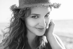 Beautiful girl on a beach. Beautiful girl close up portrait. Outdoor shoot Royalty Free Stock Images
