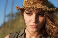 Beautiful girl on a beach. Beautiful girl close up portrait. Outdoor shoot Stock Image