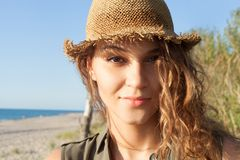 Beautiful girl on a beach. Beautiful girl close up portrait. Outdoor shoot Royalty Free Stock Image