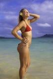 Beautiful girl at the beach. In hawaii Royalty Free Stock Photo