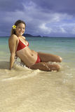 Beautiful girl at the beach. In hawaii Royalty Free Stock Photography