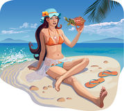 Beautiful girl on the beach. Illustration of beautiful girl on the beach with a crab Royalty Free Stock Photos