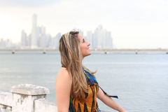 Beautiful girl on beach looking up Royalty Free Stock Photos