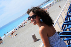 Beautiful girl on the beach in Nice Royalty Free Stock Photos