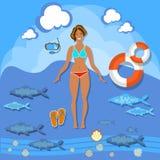 Beautiful girl beach smile woman summer vacation sea tropics. Slim fashion bikini swimsuit diving lifebuoy swimming sunbathing vector illustration Royalty Free Stock Images