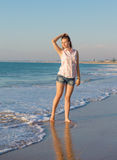 Beautiful girl on the  beach Royalty Free Stock Image