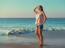 Beautiful girl on the  beach Stock Photography