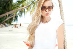 Beautiful girl on the beach, summer. Royalty Free Stock Photography