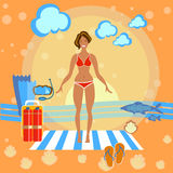 Beautiful girl on the beach. Sunbathe, towel, woman, summer, flippers, sports, diving smile swimming, skinny, happy holidays by the sea vector illustration Stock Photo