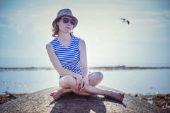 Beautiful girl on a beach Stock Photography