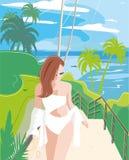 Beautiful girl on the beach stock illustration