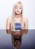 Beautiful girl with beads Stock Photography
